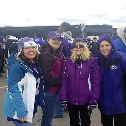 Nicole Crone, of Whiteford, left, Jen Withers, of Havre de Grace, Carol Otto, of Street ,and Kathy Otto, of Bel Air, helped cheer on the Ravens to a 28-13 victory Sunday night in Foxboro, Mass.