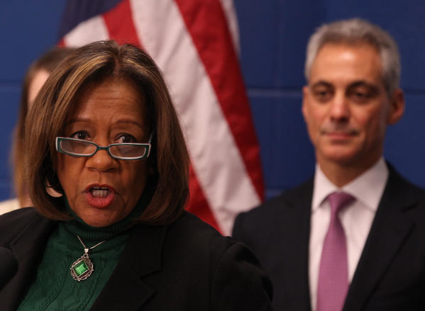 Chicago Public Schools CEO Barbara Byrd-Bennett announces a major expansion of Jones College Prep, as Mayor Rahm Emanuel looks on during a news conference at the school, Tuesday.