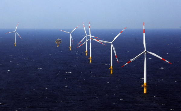 Turbines in the Baltic Sea off Germany, 2011. Gov. Martin O'Malley has proposed legislation to provide a ratepayer subsidy for a similar project off Ocean City.