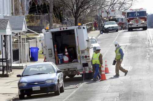 Columbia Gas personnel work Tuesday at scene at of a natural gas leak at 252-254 Frederick St. in Hagerstown.