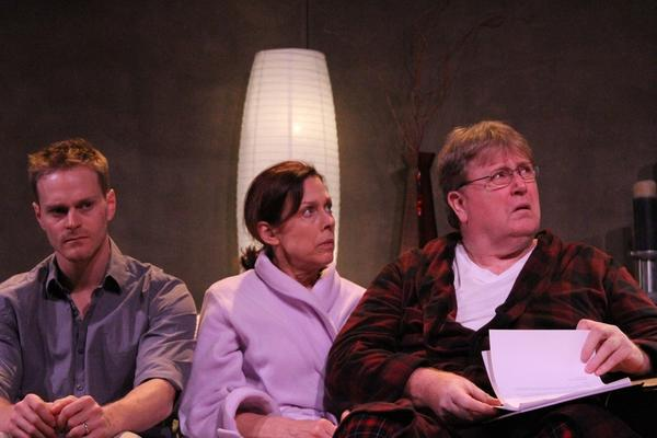 "Tom Christensen, from left, Perry Smith and Thomas F. Evans in ""Happy Face Sad Face"" at the Elephant Lillian Theatre."