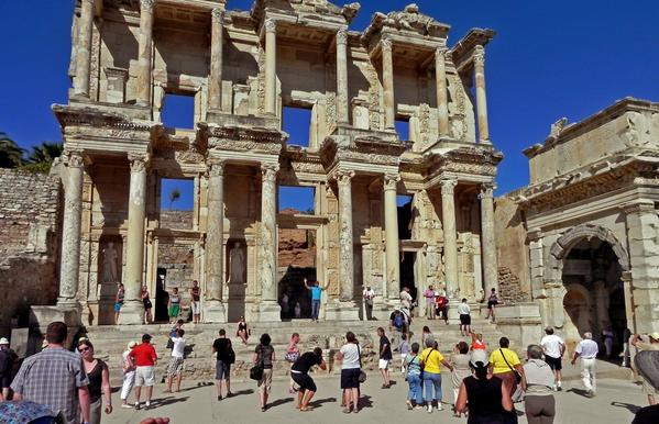 The Ephesus library. Earthquakes and destructive invaders led to the city's demise more than 1,000 years ago. But after 150 years of ongoing excavation, archaeologists have rebuilt 16% of the city, column by column. Today, Ephesus is Turkey's most popular tourist destination, attracting 5 million visitors a year.