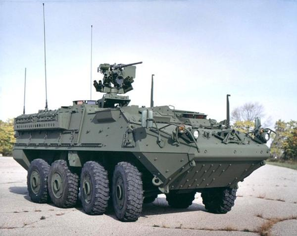 Alaska State Troopers say an M1126 Stryker armored personnel carrier, seen here in a U.S. Army file photo, rear-ended a 1999 Chevrolet van on the Richardson Highway Monday. The impact sent it spinning into the path of a Chevrolet Silverado pickup truck which also struck it, but the van's driver -- 51-year-old Steven Booth of Delta Junction -- reported only minor aches and pains.