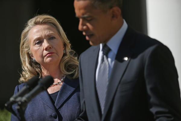 President Obama makes a statement about the death of U.S. ambassador to Libya J. Christopher Stevens with Secretary of State Hillary Rodham Clinton in the Rose Garden at the White House.