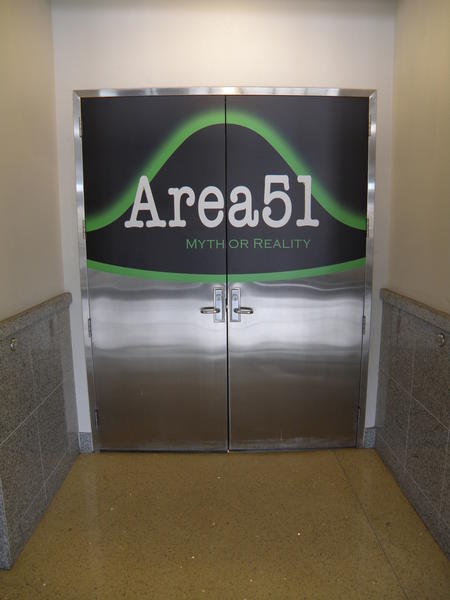 The Area 51 exhibit at the National Atomic Testing Museum in Las Vegas shares information about the military site in the desert.