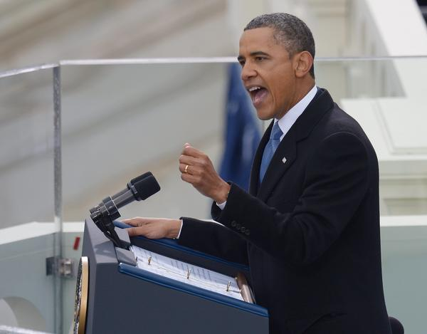 President Obama, seen delivering his inaugural address on Monday, needs to persuade Democrats and Republicans to agree on a plan to pare the deficit and bring the national debt under control.