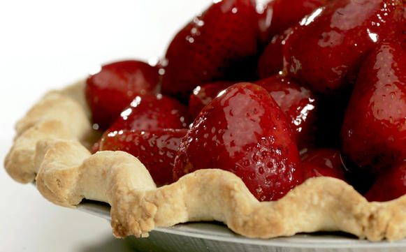 "One bite of this fresh strawberry pie and your mouth is hit with the light harmony of strawberry flavor complemented by bright notes of orange and rum, and a cool hint of mint. <a href=""http://recipes.latimes.com/recipe-strawberry-pie/"">Click here for the recipe.</a>"