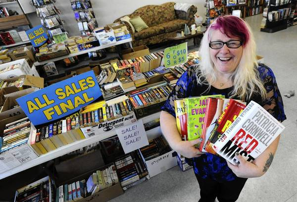 Jackie Shoemaker, owner of Hooked on Books in Forks Township, on Tuesday afternoon.