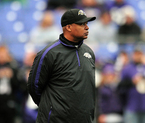 Ravens offensive coordinator Jim Caldwell surveys the field before the AFC divisional round.