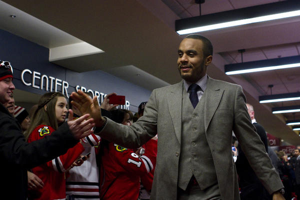 Ray Emery greets fans at the red carpet event for the Blackhawks Home Opener held at the United Center (1901 W. Madison).