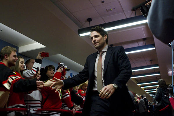Patrick Sharp greets fans at the red carpet event for the Blackhawks Home Opener held at the United Center (1901 W. Madison).