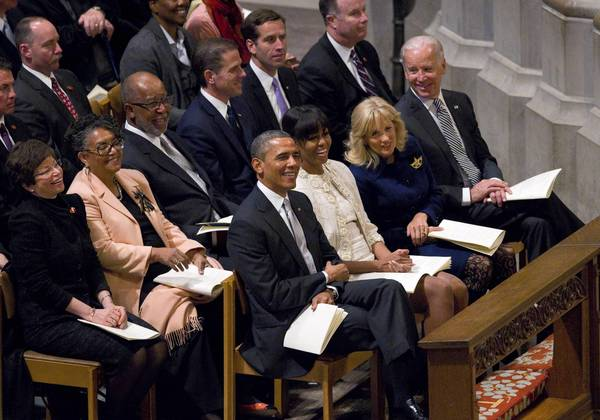 President Obama, attending the inaugural prayer service at the National Cathedral with wife Michelle Obama, Jill Biden and Vice President Joe Biden, gave new attention in his inaugural address to the issue of climate change.
