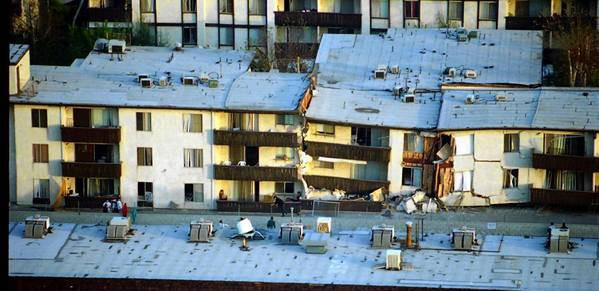 Sixteen people died when the Northridge Meadows apartment complex collapsed during the Northridge earthquake on Jan. 17, 1994.