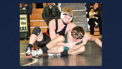 Meyersdale's Tanner Hetrick locks a cradle on North Star's Michael Baker at 132 pounds on Tuesday night. Hetrick won by a 17-3 major decision.