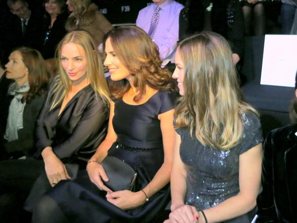 From left, Uma Thurman, Roberta Armani and Hilary Swank at the Giorgio Armani Prive spring-summer 2013 haute couture show in Paris.