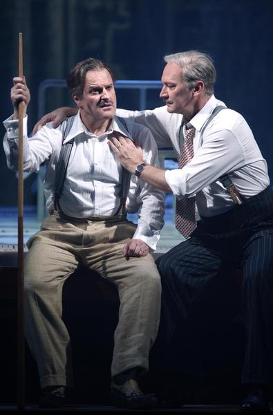 "A fictional, fantasized version of Walt Disney's life story is told in the Philip Glass opera ""The Perfect American,"" receiving its world premiere at Teatro Real in Madrid. Baritone Christopher Purves, left, portrays Disney. David Pittsinger is brother and business partner Roy."