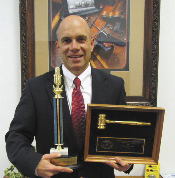 Matt Hurley, owner of Hurley Auctions in Greencastle, Pa., recently won the Champion of Champions bid-calling competition during the Pennsylvania Auctioneers Association convention in Harrisburg, Pa.