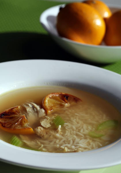 Heart smart chicken soup with rice and roasted lemons makes for a comforting meal