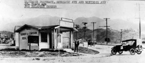 The corner of Montrose and Honolulu avenues a few years after Montrose opened for development. This photo was printed in the 1953 Progress Edition of The Ledger, and the caption at that time identified the man as realtor Frank Turner.