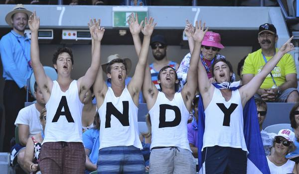 Fans of Andy Murray react during his men's singles quarter-final match against Jeremy Chardy of France at the Australian Open tennis tournament in Melbourne January 23, 2013.