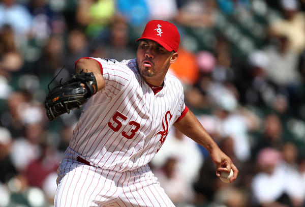 White Sox pitcher Hector Santiago works in the first inning against the Kansas City Royals at U.S. Cellular Field on Sept. 9, 2012.