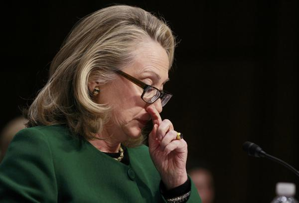 Secretary of State Hillary Clinton chokes up while testifying on the September attack on U.S. diplomatic sites in Benghazi during a hearing held by the U.S. Senate Foreign Relations Committee on Capitol Hill in Washington.