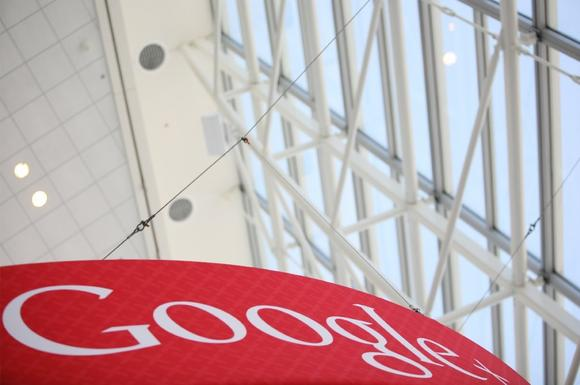 A Google+ logo is seen at Google's annual developer conference, Google I/O in June.