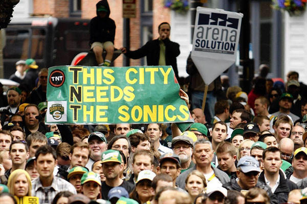 "Seattle residents staged a ""Bring Back the Sonics"" rally last June. The city, which lost its NBA franchise, the SuperSonics, to Oklahoma City in 2008, now appears on the verge of luring Sacramento's Kings to the Northwest."
