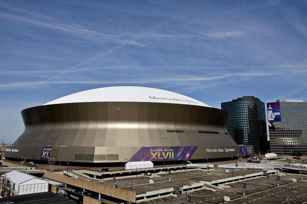 A general view outside of the Mercedes-Benz Superdome as preparations are made for Super Bowl XLVII.