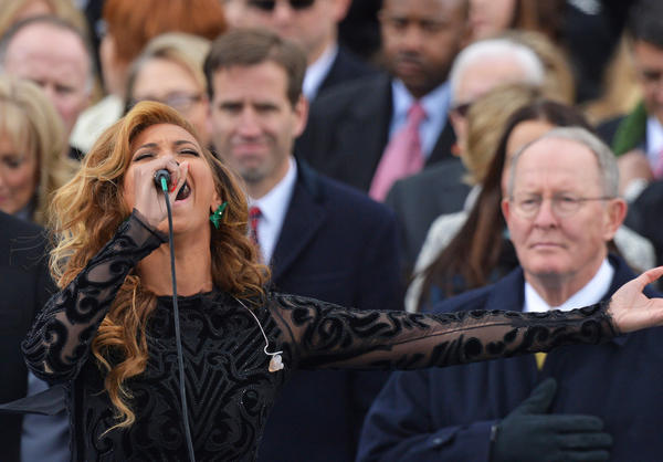 Beyonce performs the National Anthem during the 57th Presidential Inauguration ceremonial swearing-in on Jan. 21.