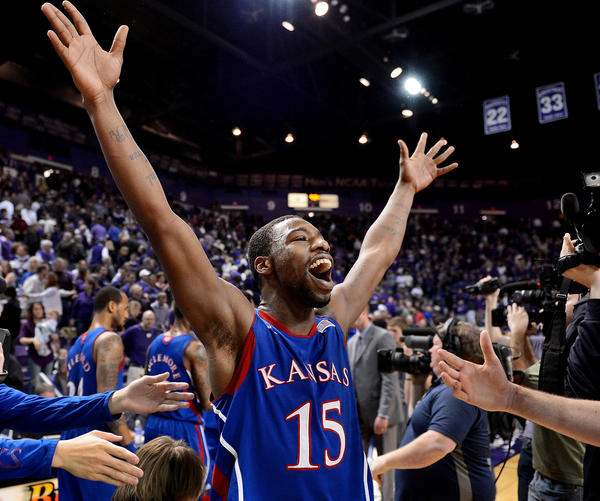 Kansas' Elijah Johnson enjoys the moment after a 59-55 win over Kansas State at Bramlage Coliseum on Tuesday, January 22, 2013, in Manhattan, Kansas.