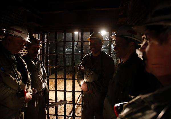 Miners leave after their shift in Hungary's last remaining deep-cast coal mine at Markushegy, 70 km west of Budapest.