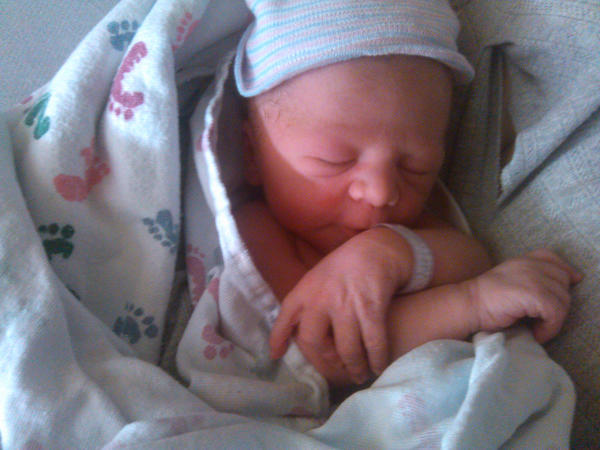 A newborn baby named Aidan is shown in this photograph released by the town of Cicero after a Cicero police officer helped to deliver the baby in a car earlier in the day.