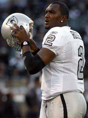 JaMarcus Russell, shown with Oakland in 2009, was drafted by the Raiders with the No. 1 overall pick but released by the team after three lackluster seasons.