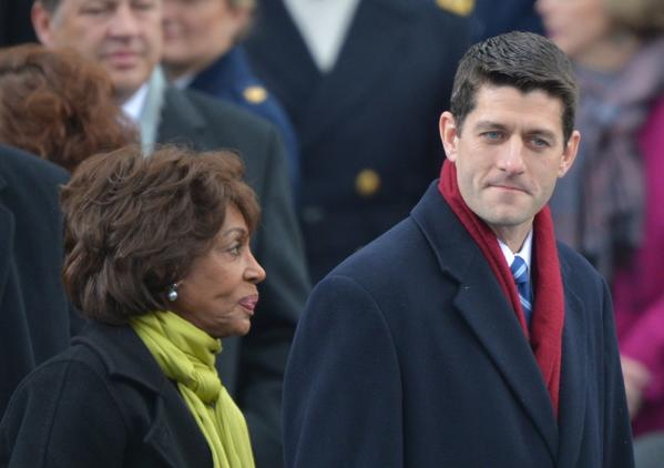 Rep. Paul Ryan (R-Wis.) attends President Obama's inauguration with Rep. Maxine Waters (D-Calif.).
