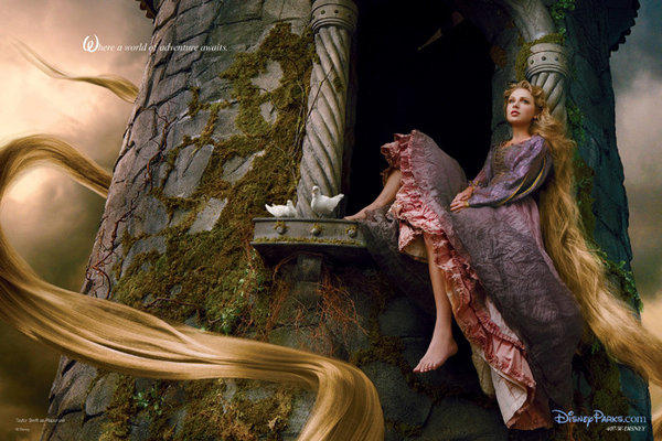 "Six-time Grammy winner Taylor Swift posed for acclaimed photographer Annie Leibovitz as Rapunzel for the ""Disney Dream Portrait"" celebrity advertising campaign. The Leibovitz image will appear in upcoming issues of Vanity Fair, InStyle and People is titled ""Where a world of adventure awaits."""