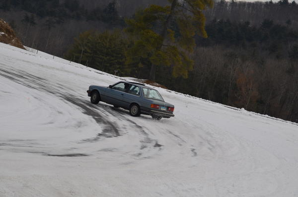 A group rented out the Lime Rock Race Course autocross facility to try some winter driving.
