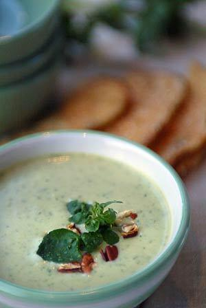 Watercress and Stilton soup