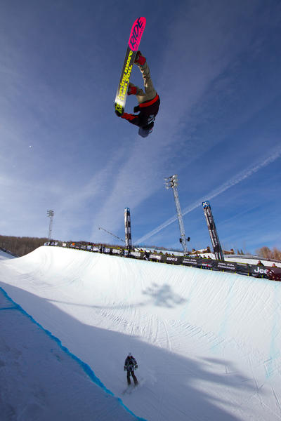 Matt Ladley competes in the men's snowboard superpipe final at Winter X Games 2012.
