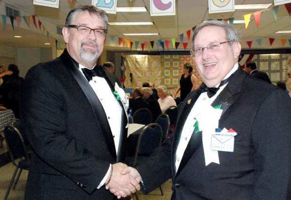 Newly installed Burbank Masonic Master Billy D. Campbell, left, with his immediate predecessor Steve Harris, at lodge 406's 104th installation of officers.