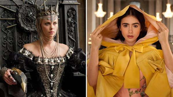 "Charlize Theron, left, plays the Queen in ""Snow White and the Huntsman."" Lily Collins portrays Snow White in ""Mirror Mirror."""