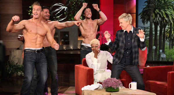 "Ellen DeGeneres surprises NeNe Leakes with strippers on ""The Ellen DeGeneres Show."""