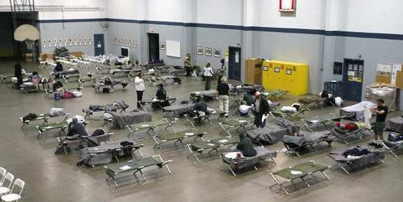 The the Glendale National Guard Armory hosting the regional winter homeless shelter on Monday, December 3, 2012.