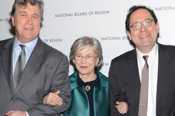 Emmanuelle Riva, center, joins Tom Barnard, left, and Michael Barker at a New York awards gala in early January.