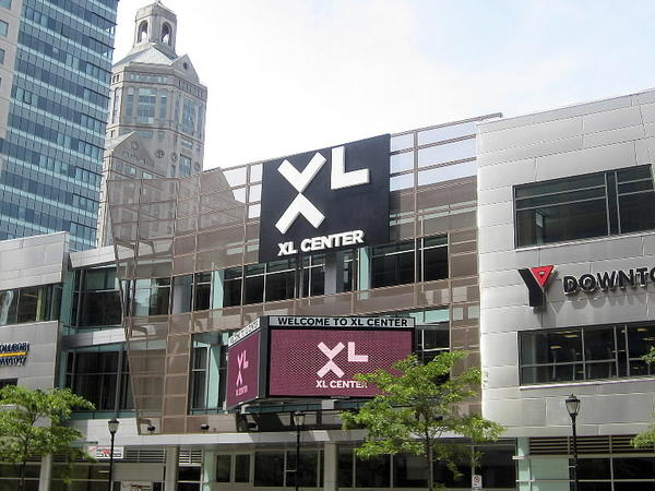 Three companies will vie for management of the XL Center in Hartford and Rentschler Field in East Hartford.