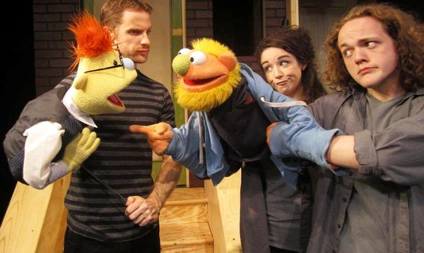 "John Gracey (from left), Ashley Willsey and Wesley Slade in ""Avenue Q"" at Theatre Downtown."