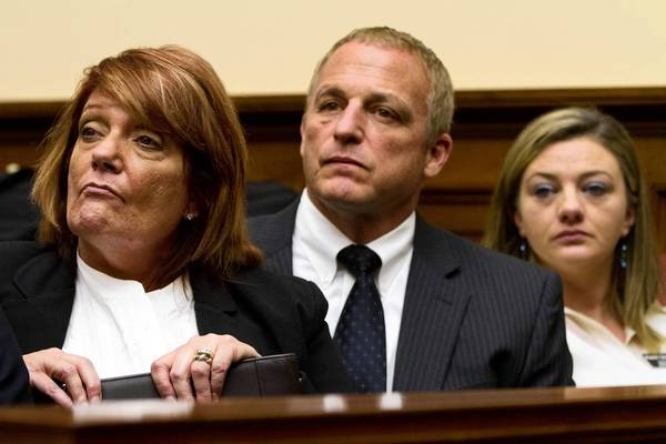 Retired Chief Master Sgt. Cindy McNally, left, and retired Tech. Sgt. Jennifer Norris, right, told the House Armed Services Committee that they were sexually assaulted in the Air Force.