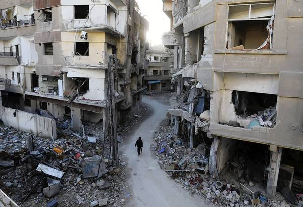 Buildings in Damascus were heavily damaged last week by airstrikes from the Syrian army.