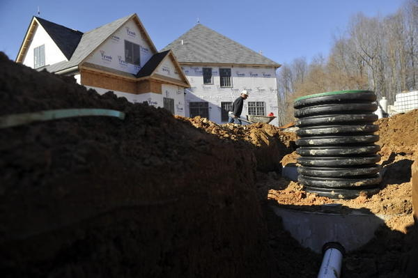 A home on septic under construction in Baltimore County.