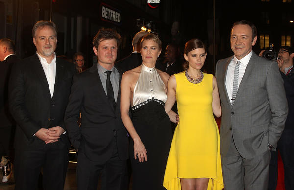 "Netflix premiered its new original series ""House of Cards,"" in London. Director David Fincher, left, is joined by Beau Willimon, Robin Wright, Kate Mara and Kevin Spacey on the red carpet."